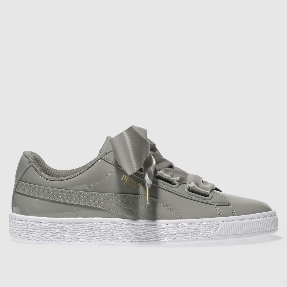 Puma Grey Basket Heart Patent Trainers