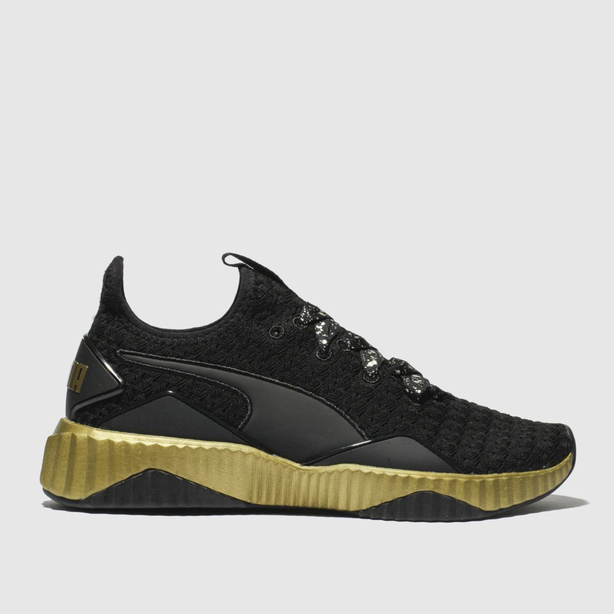 Puma Black & Gold Defy Sparkle Trainers