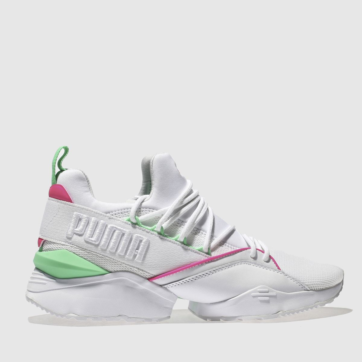 Puma White & Pink Muse Maia Chase Trainers