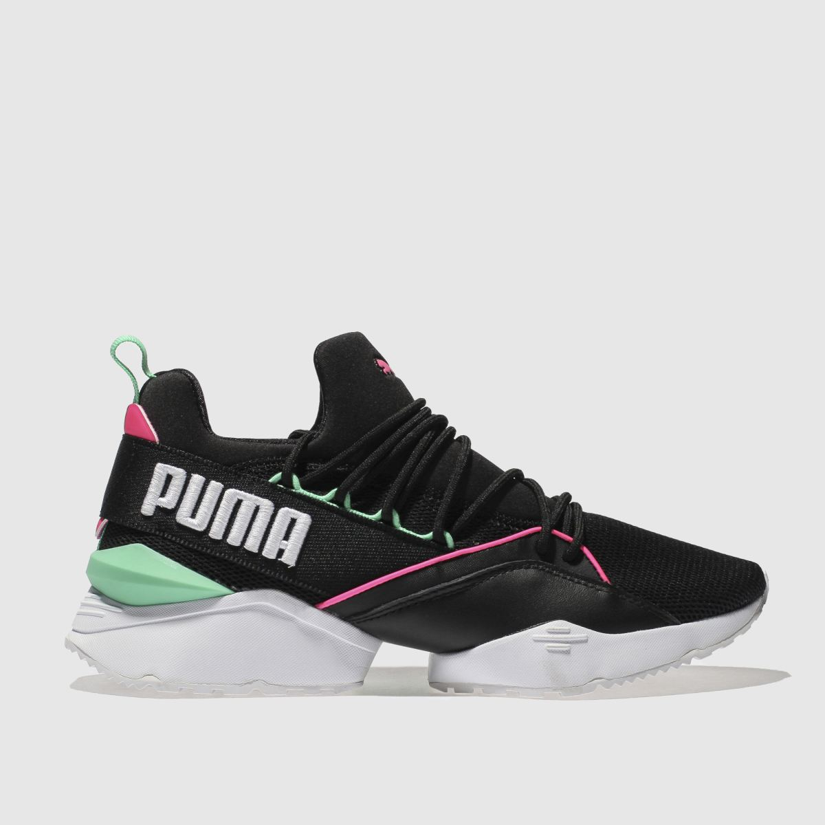 Puma Black & Pink Muse Maia Chase Trainers