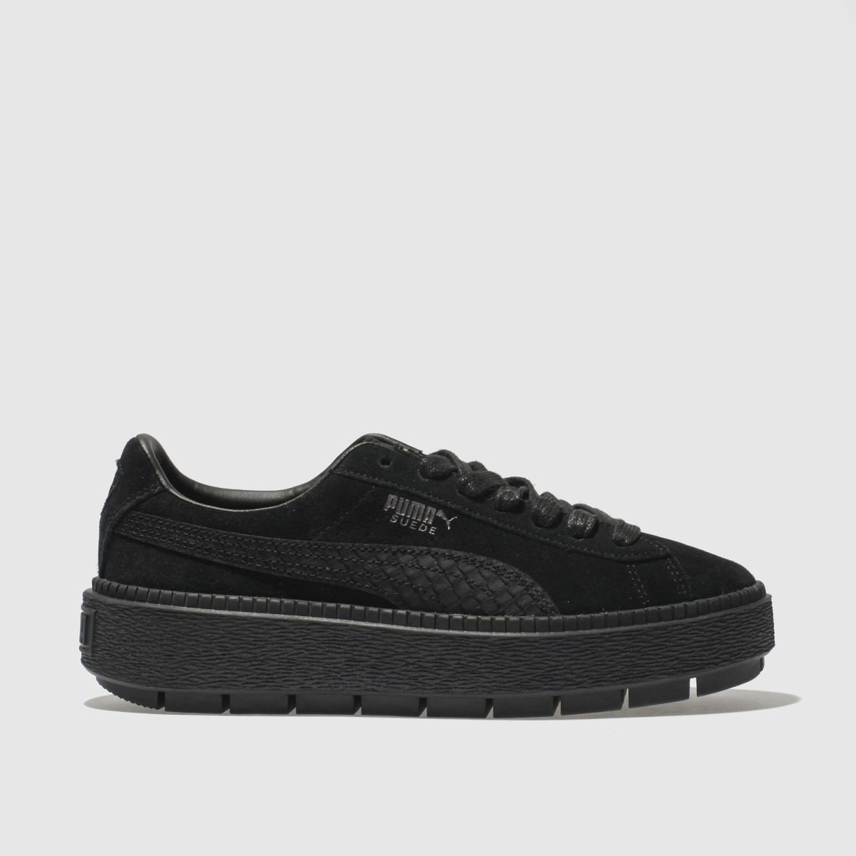 Puma Black Suede Platform Trace Animal Trainers