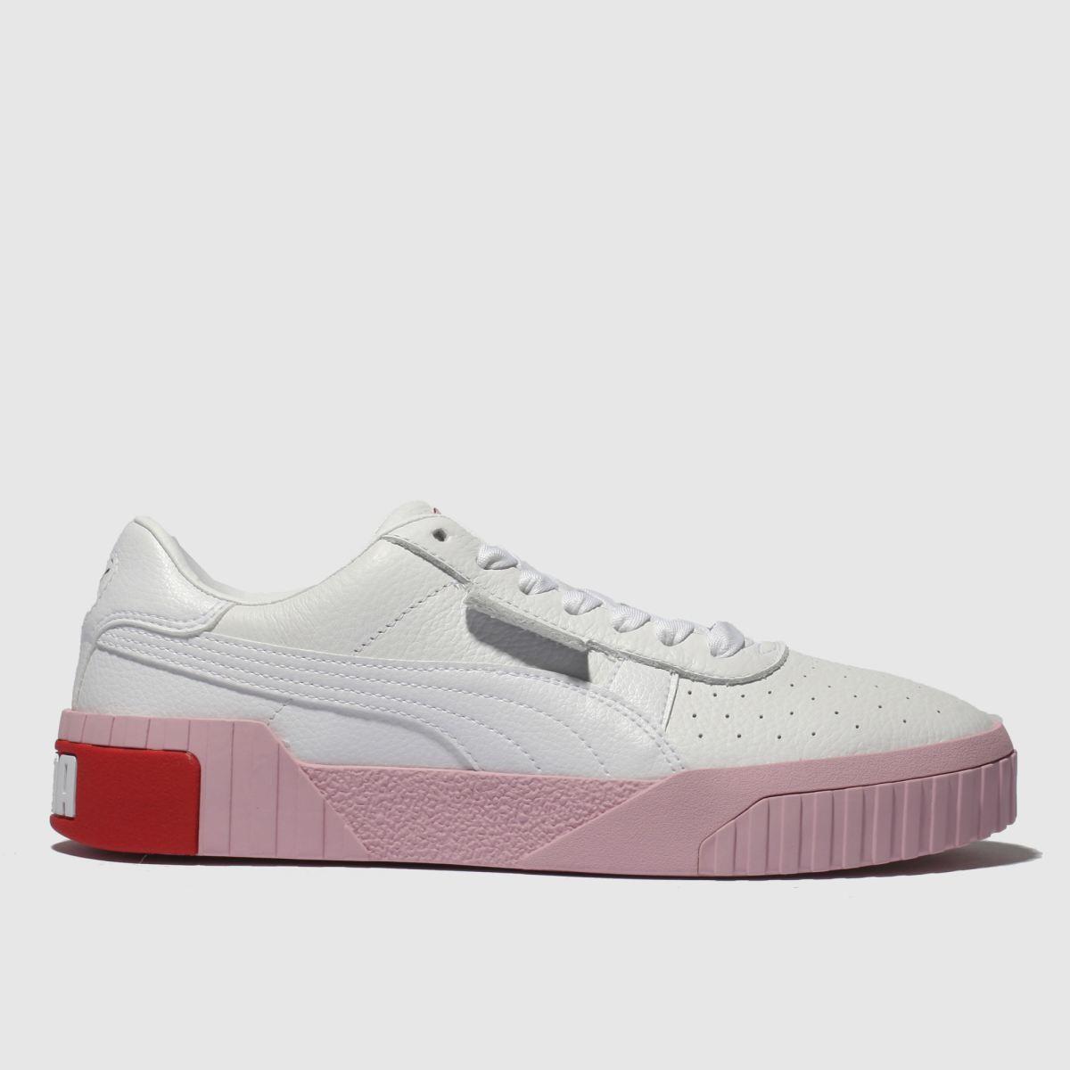 Puma White & Pink Cali Leather Trainers
