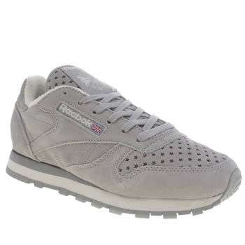 Reebok Grey Classic Premium Perforated Trainers