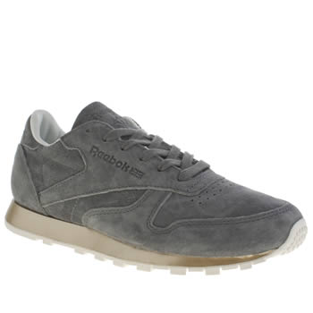 Reebok Dark Grey Classic Leather New Metal Trainers