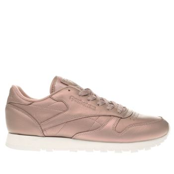 womens reebok pale pink classic leather pearlized trainers