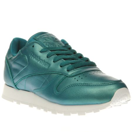 womens turquoise reebok classic leather pearlized trainers. Black Bedroom Furniture Sets. Home Design Ideas