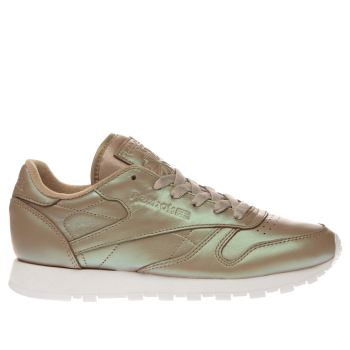 REEBOK BEIGE CLASSIC LEATHER PEARLIZED TRAINERS