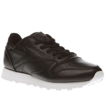 Reebok Black Classic Leather Pearlized Womens Trainers