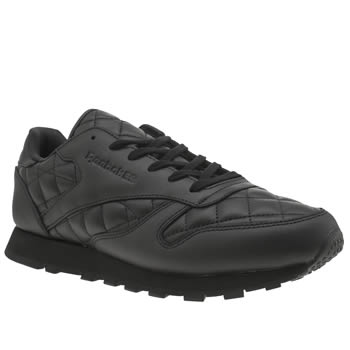 Reebok Black Classic Leather Quilted Trainers
