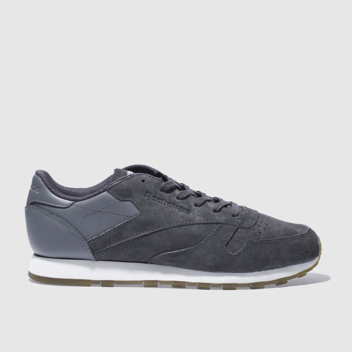 reebok dark grey classic leather trainers
