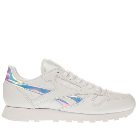 womens white reebok classic leather iridescent rd x ray trainers. Black Bedroom Furniture Sets. Home Design Ideas
