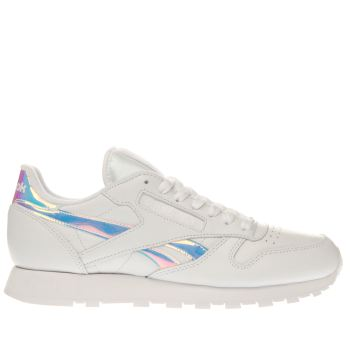 Reebok White Classic Leather Iridescent Womens Trainers