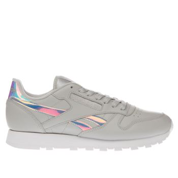 Reebok Light Grey Classic Leather Iridescent Womens Trainers