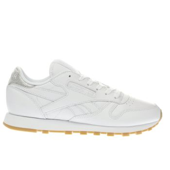 Reebok White & Silver Classic Metallic Diamond Trainers