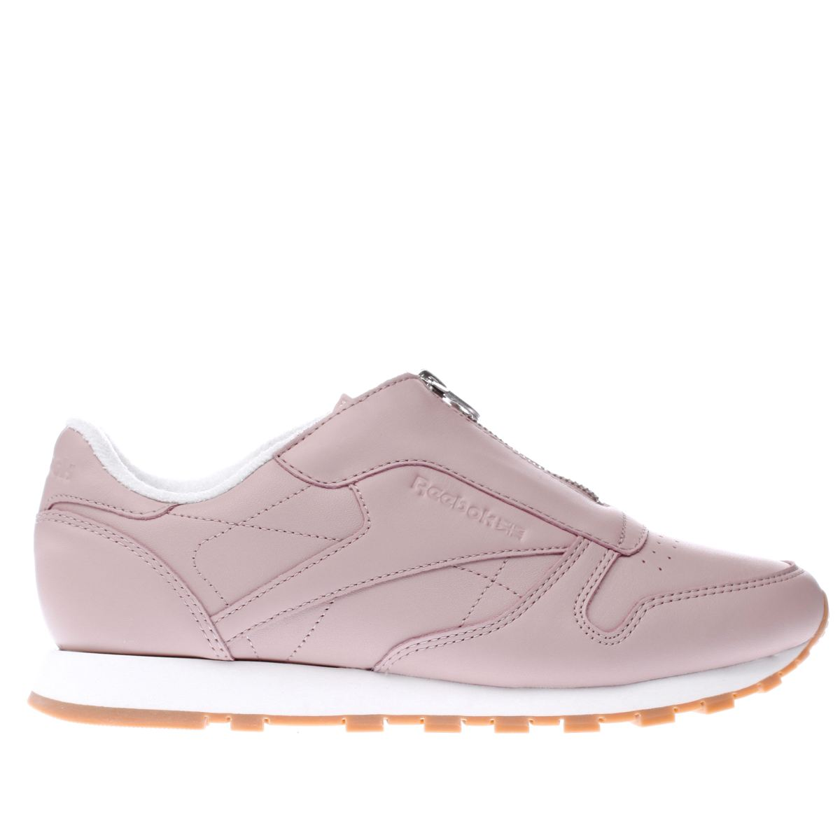 reebok pale pink classic leather zip trainers