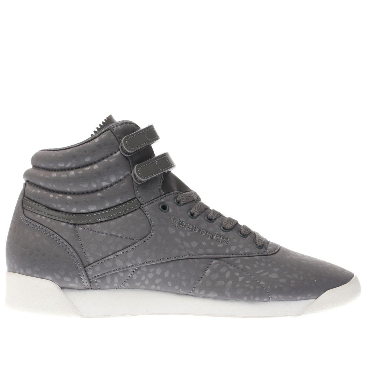 Reebok Reebok Dark Grey Freestyle Hi Lux Textile Trainers