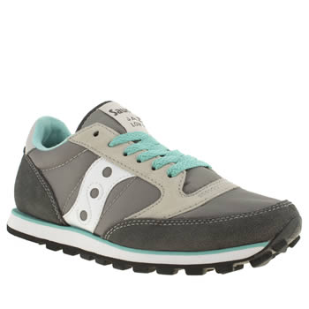 womens saucony light grey jazz lo pro trainers