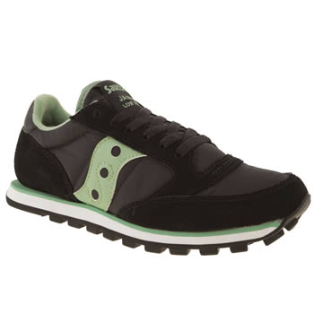 womens saucony black & green jazz lo pro trainers