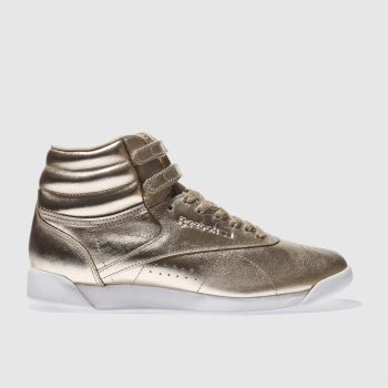 Reebok Gold Freestyle Hi Metallic Womens Trainers