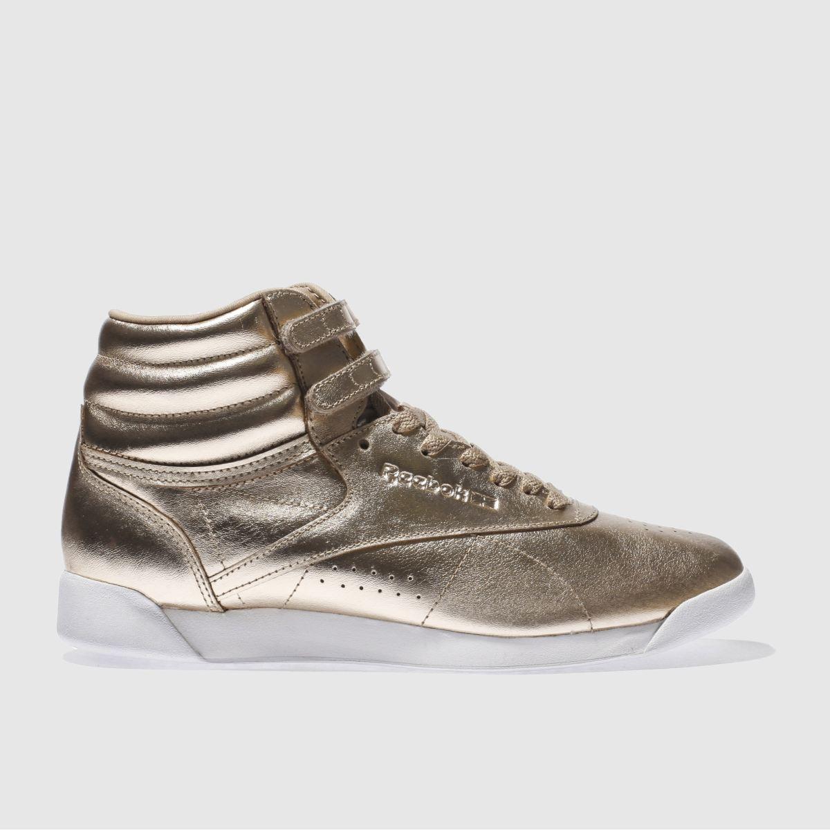 reebok rose gold freestyle hi metallic trainers