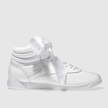 Reebok White Freestyle Hi Satin Bow Womens Trainers