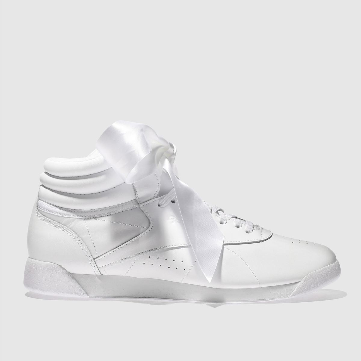 Reebok White Freestyle Hi Satin Bow Trainers