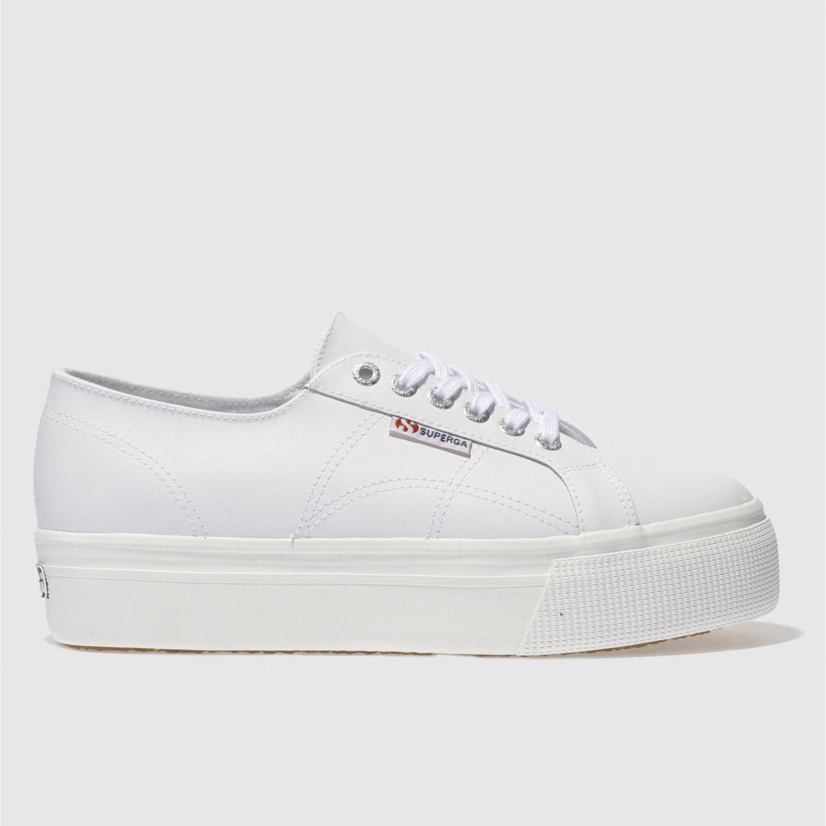superga white 2790 flatform trainers