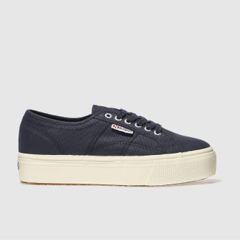 Superga Navy 2790 Flatform Womens Trainers