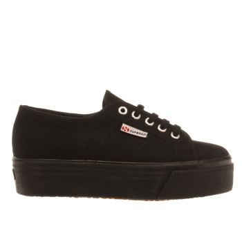 Womens Superga Black 2790 Flatform Trainers