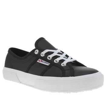 Superga Black & White 2750 Leather Womens Trainers