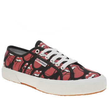 Superga Black & Red 2750 Rolling Stones Womens Trainers