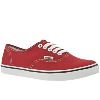 womens vans red authentic lo pro trainers