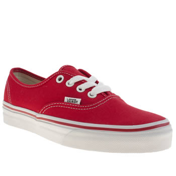 womens vans red authentic trainers