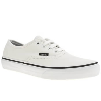 Vans White & Black Authentic Leather Trainers