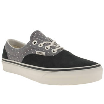 womens vans navy & white era iii chambray polka dot trainers