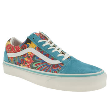 womens vans white & blue old skool trainers