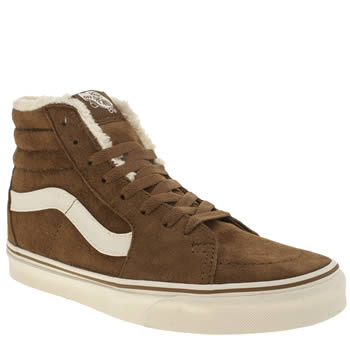 Vans Tan Sk8-hi Suede Fleece Trainers
