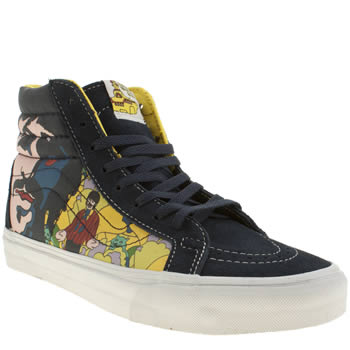 womens vans blue & yellow sk8-hi trainers