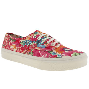 womens vans pink authentic slim trainers