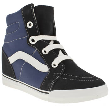 womens vans navy & white sk8-hi wedge trainers