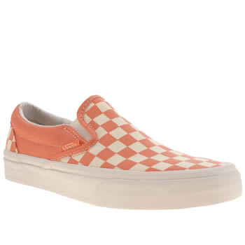 Vans White & Orange Classic Slip On Iii Trainers