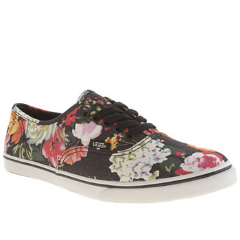 Vans Black & White Authentic Lo Pro Floral Trainers