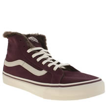 Vans Burgundy Sk8-hi Slim Fur Lining Womens Trainers