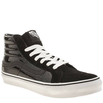 Vans Black & White Patent Galaxy Sk8-hi Slim Trainers