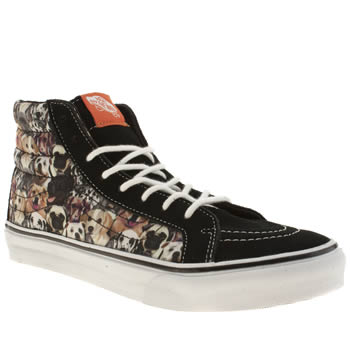 womens vans black & brown sk8-hi slim ii trainers
