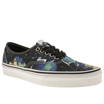 womens vans black and blue authentic star wars trainers