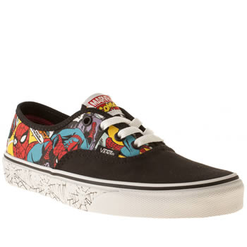 womens vans black & white x marvel spider-man authentic trainers