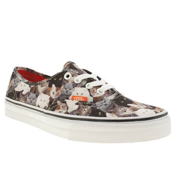 womens vans black & brown authentic x aspca cats trainers