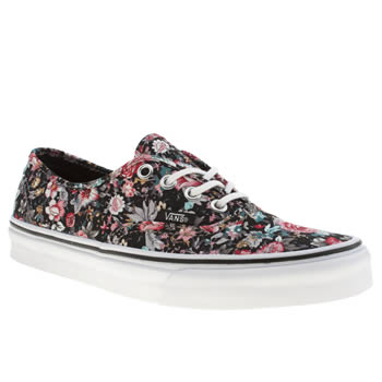womens vans black & pink authentic x floral trainers