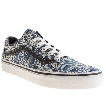 Womens Vans White & Blue Liberty Old Skool Trainers